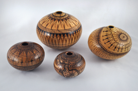 Four Woodburned Bowls